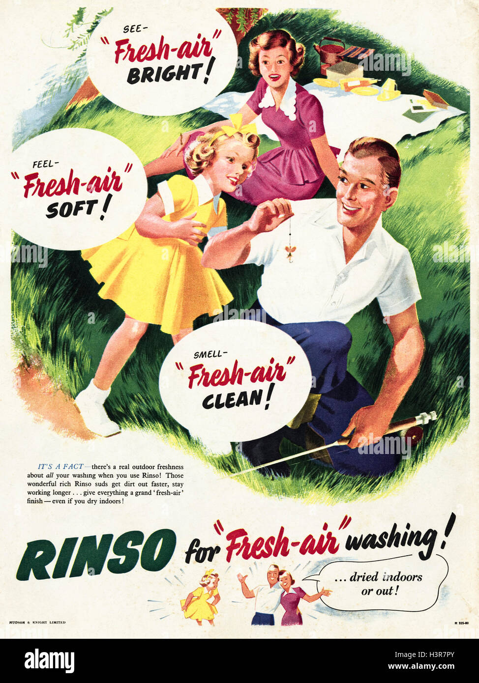 1950s advertising advert from original old vintage magazine dated 1952 advertisement for Rinso washing powder for - Stock Image