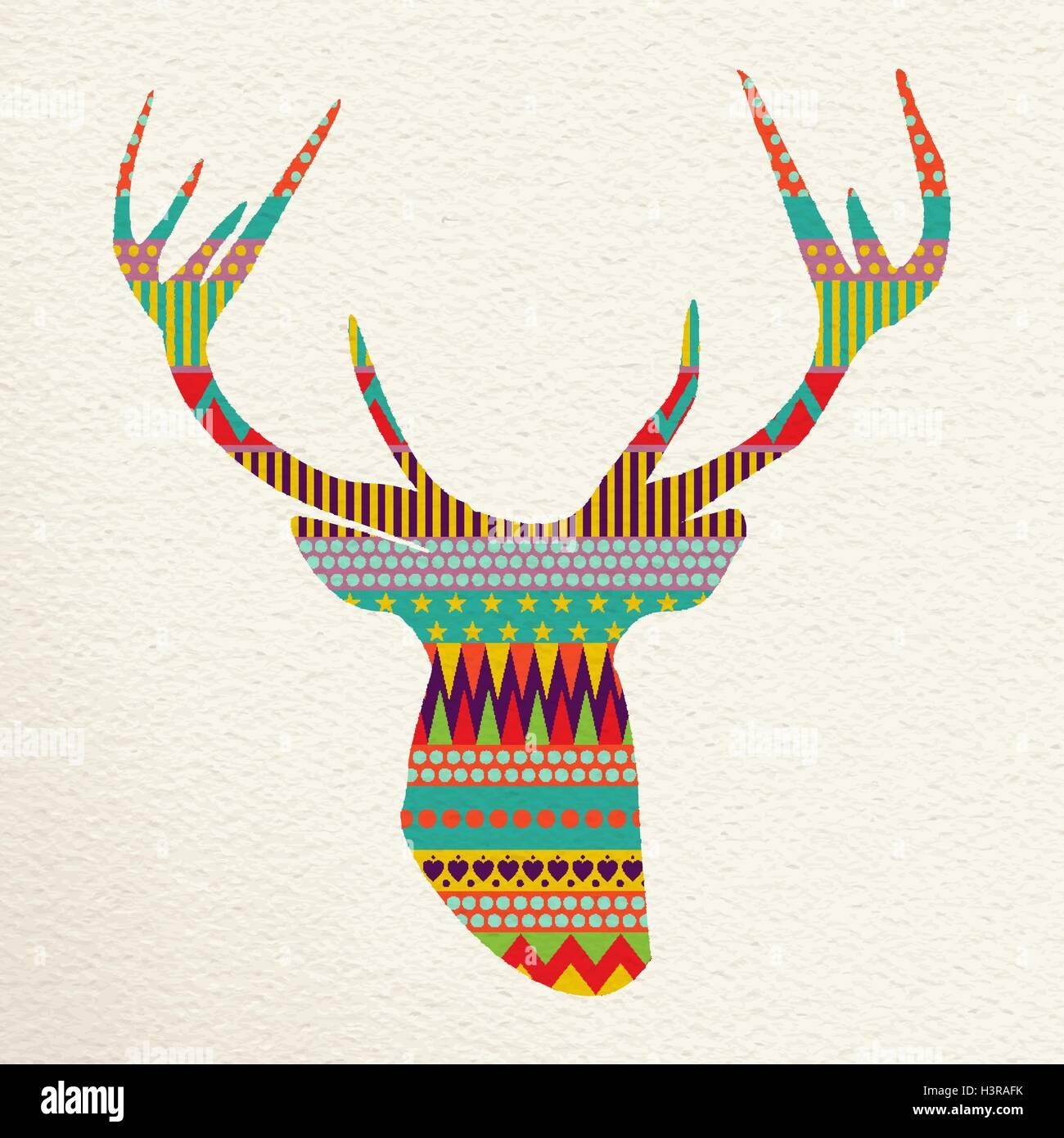 Merry Christmas reindeer head design in fun happy colors with indie ...