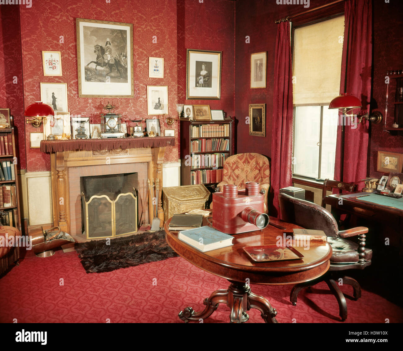 1890s RED VICTORIAN HOME STUDY WITH GLASS SLIDE PROJECTOR DESK AND