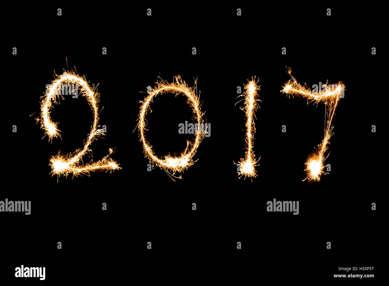 2017 written with Sparkle firework, New year 2017 concept. - Stock Image