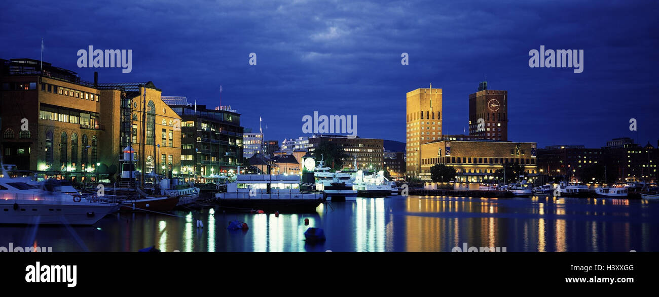 Norway, Oslo, Town View, Harbour, Night, Capital, City Hall, Radhuset,  Inland Harbour, Lights, Ships, Boots, Lighting, Water Mirroring Awesome Ideas