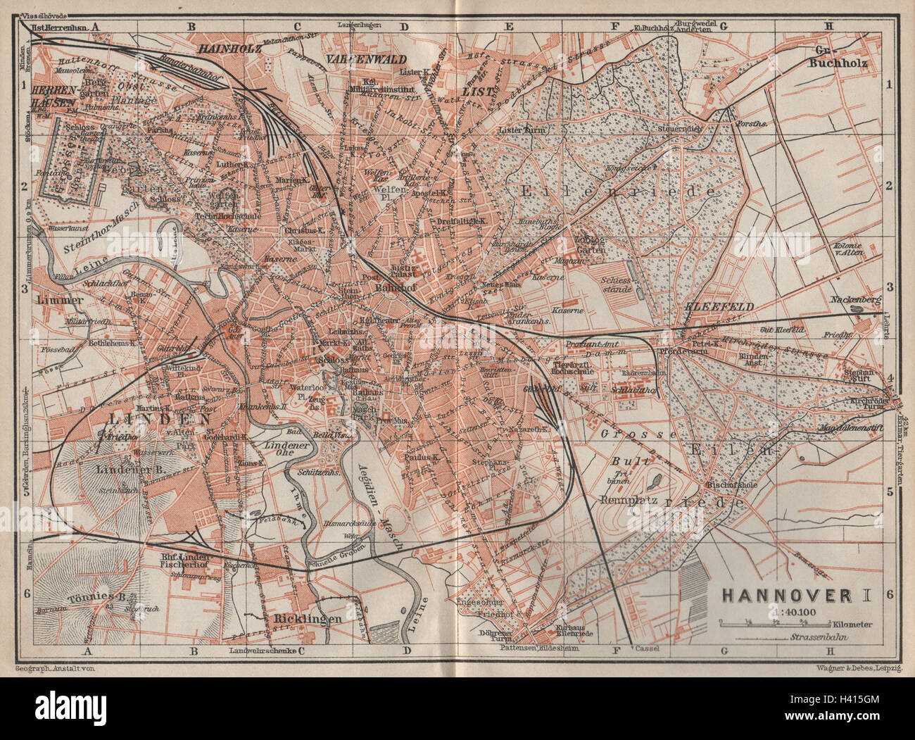 HANNOVER antique town city stadtplan I Hanover Lower Saxony karte