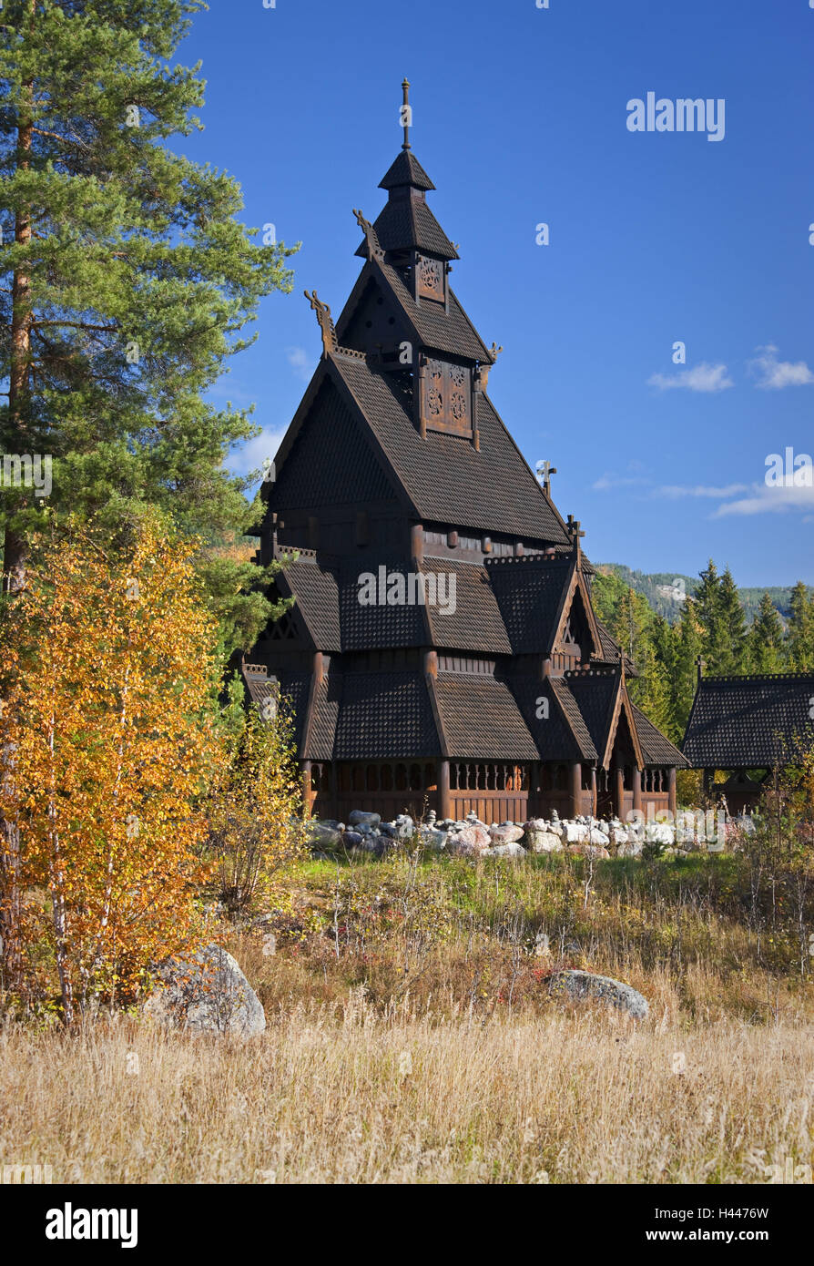 Norway, Gol, stave church, replica, - Stock Image
