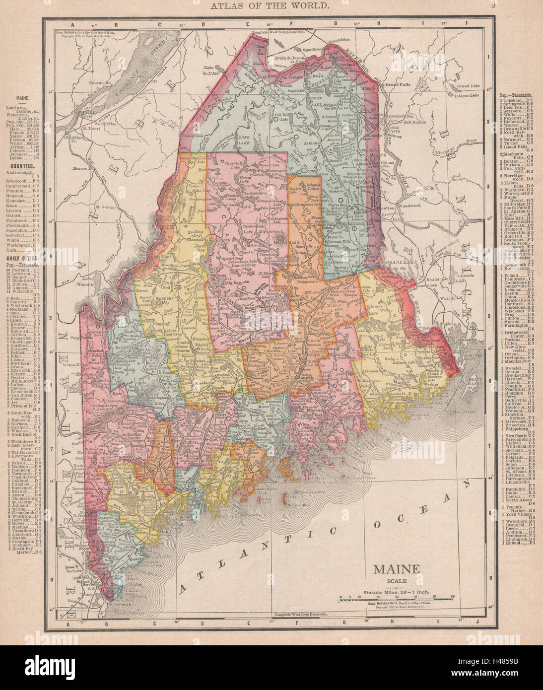 Maine state map showing counties. RAND MCNALLY 1912 old antique plan ...