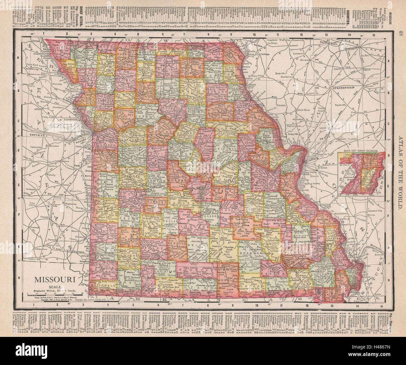 Missouri state map showing counties. RAND MCNALLY 1912 old antique ...