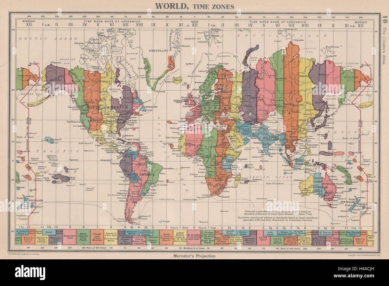 WORLD Time Zones UK Ireland Spain France on same zone Stock