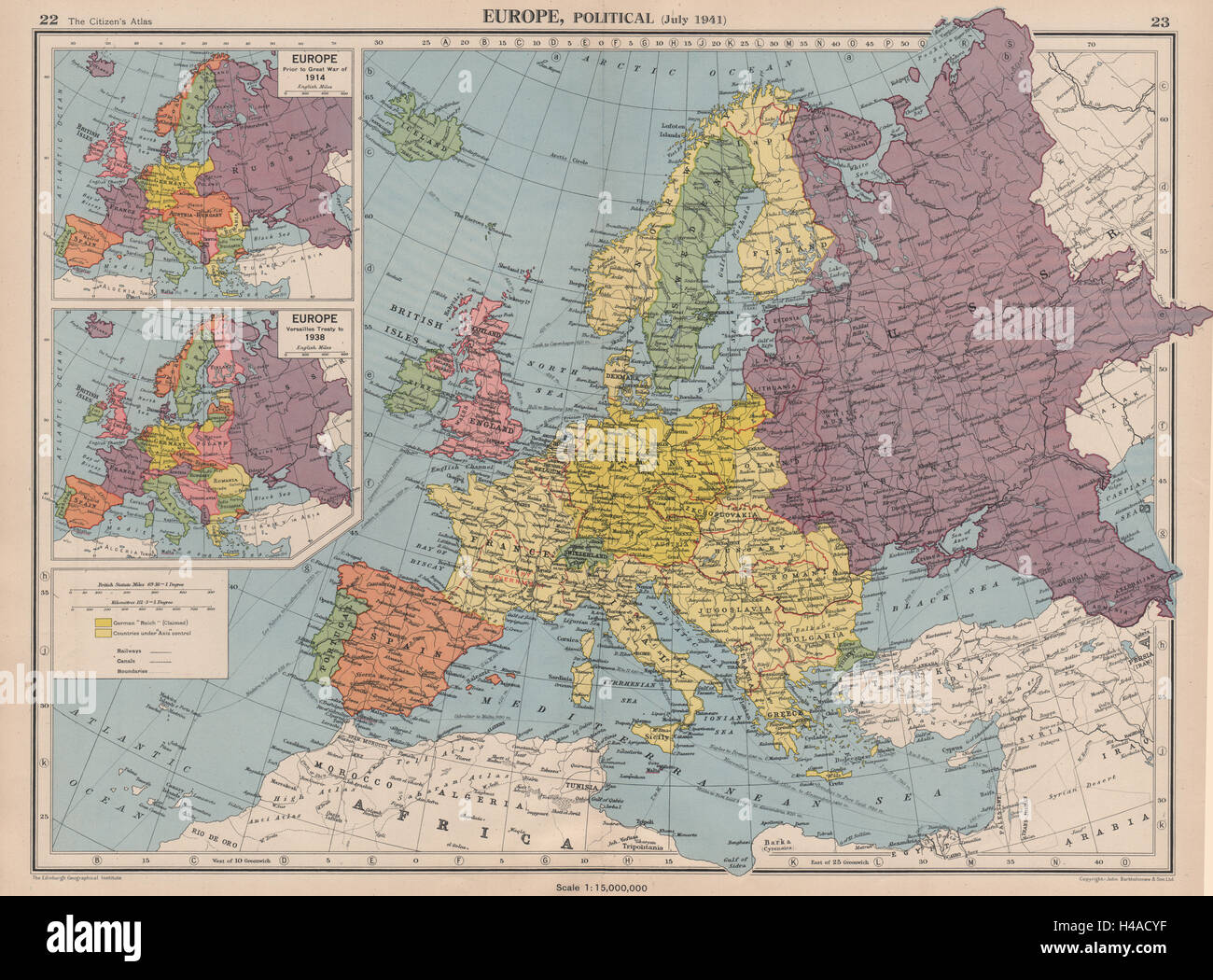 Europe In 1941 1914 38 Third Reich Vichy France Partitioned