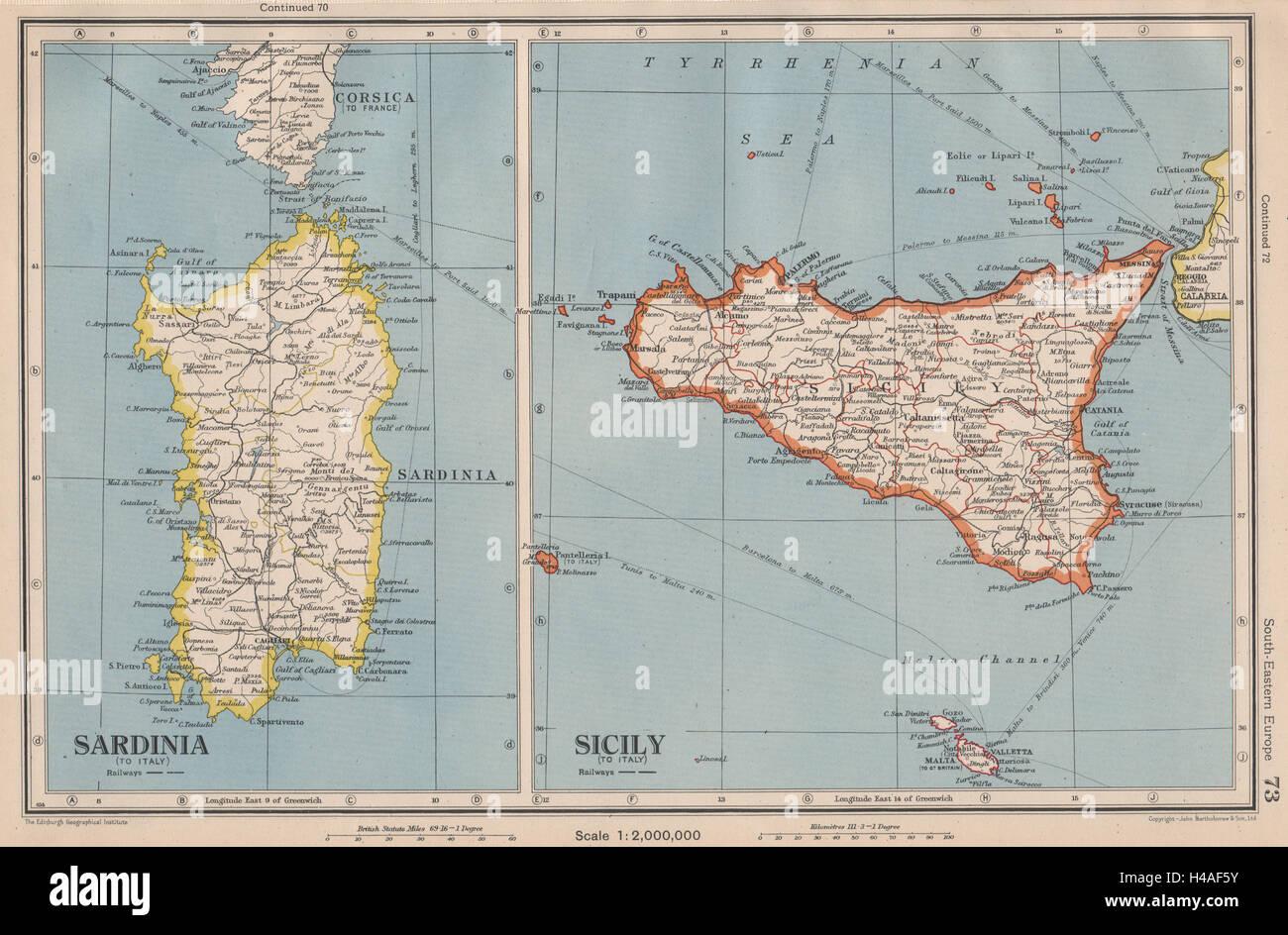 ITALY Sicily and Sardinia Sardegna Aeolian islands BARTHOLOMEW