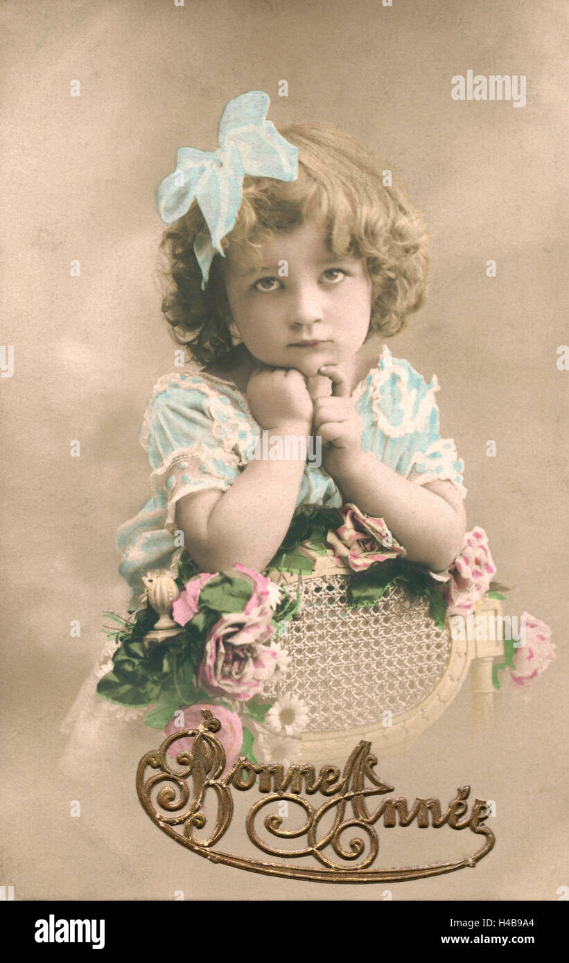 postcard historical little girl chair rested new year wishes bonne anne