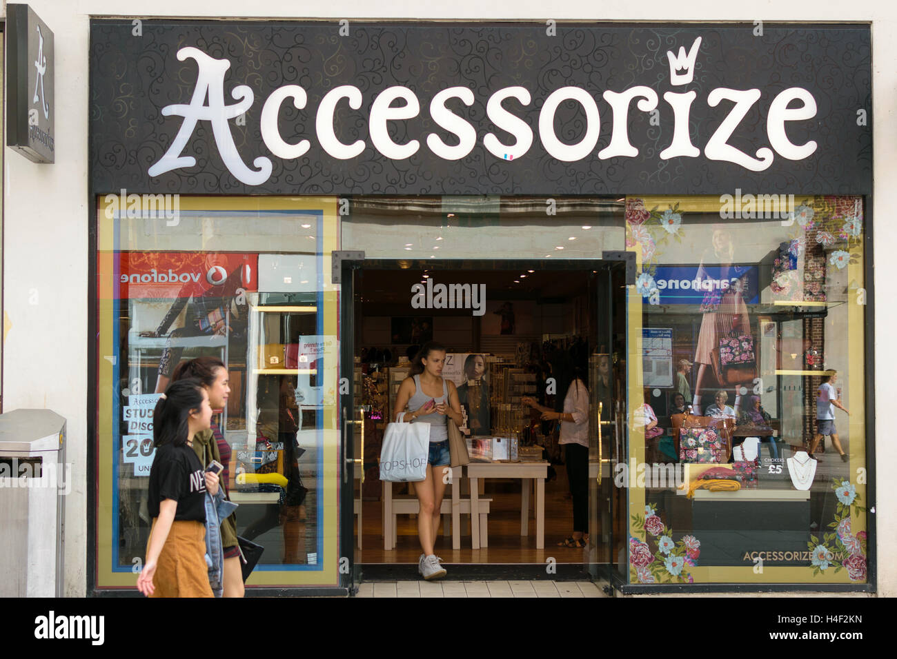 Exeter, Devon, England, UK - 30 September 2016: Accessorize shop windows on High street.Stock Photo