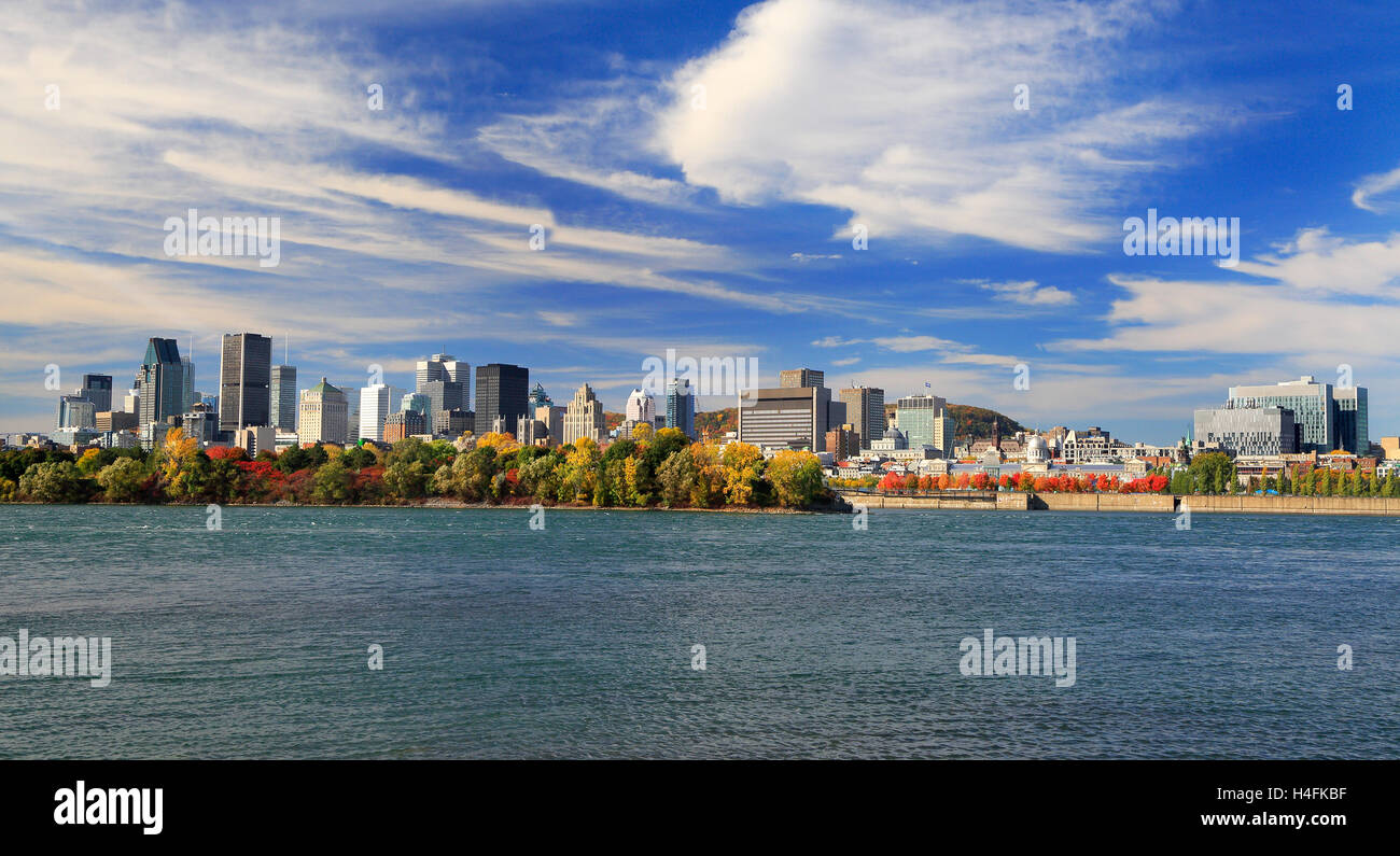 Montreal skyline and St Lawrence River in autumn, Quebec, Canada - Stock Image