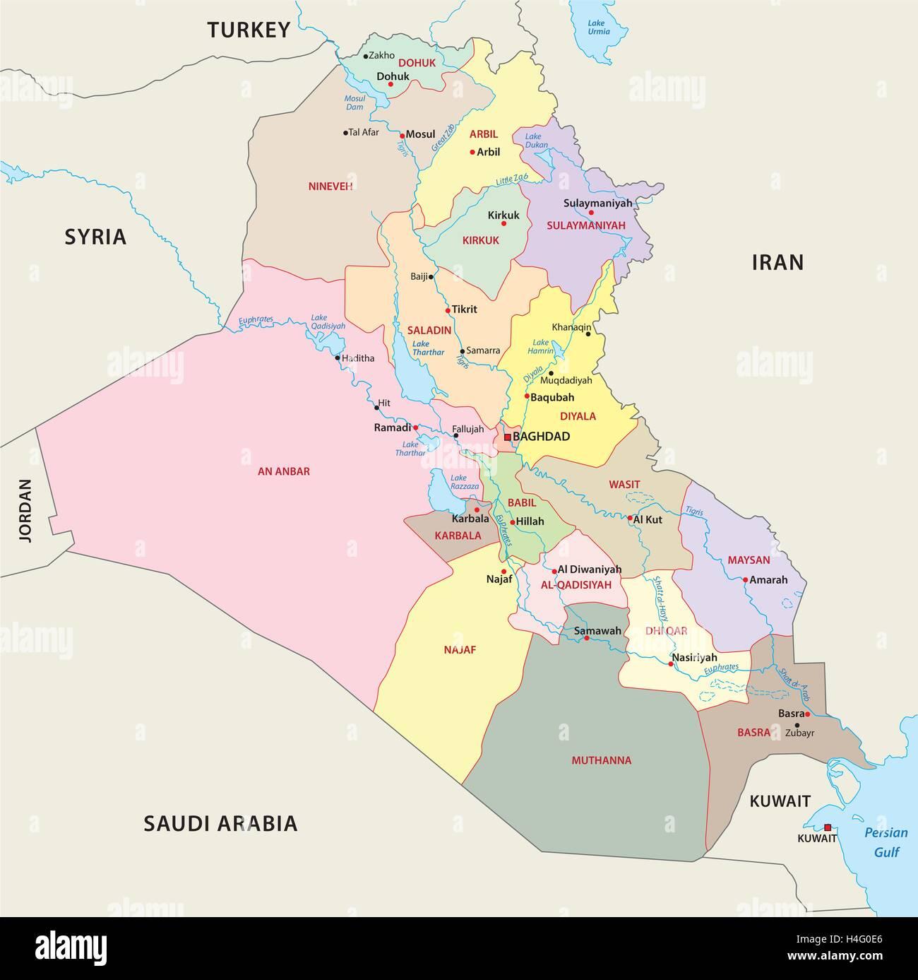 Iraq administrative divisions map Stock Vector Art Illustration