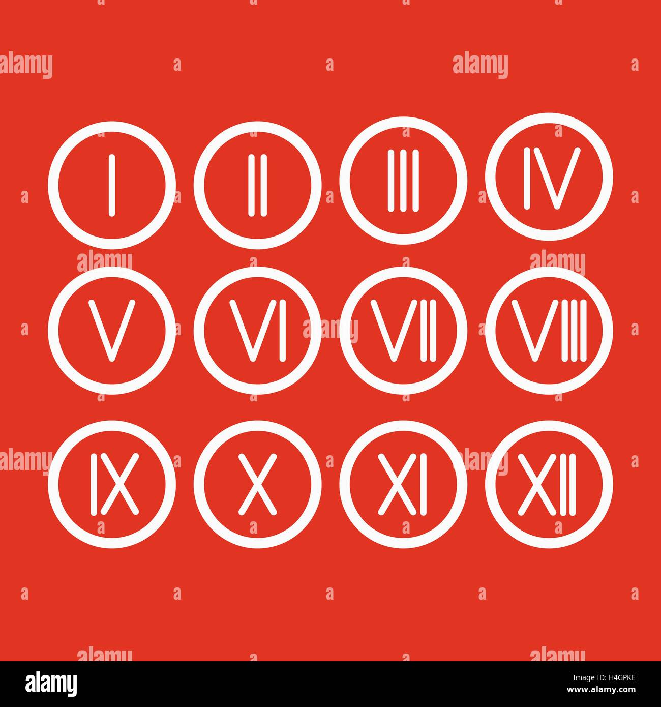 Set roman numerals 1 12 icon stock vector art illustration vector set roman numerals 1 12 icon altavistaventures Image collections