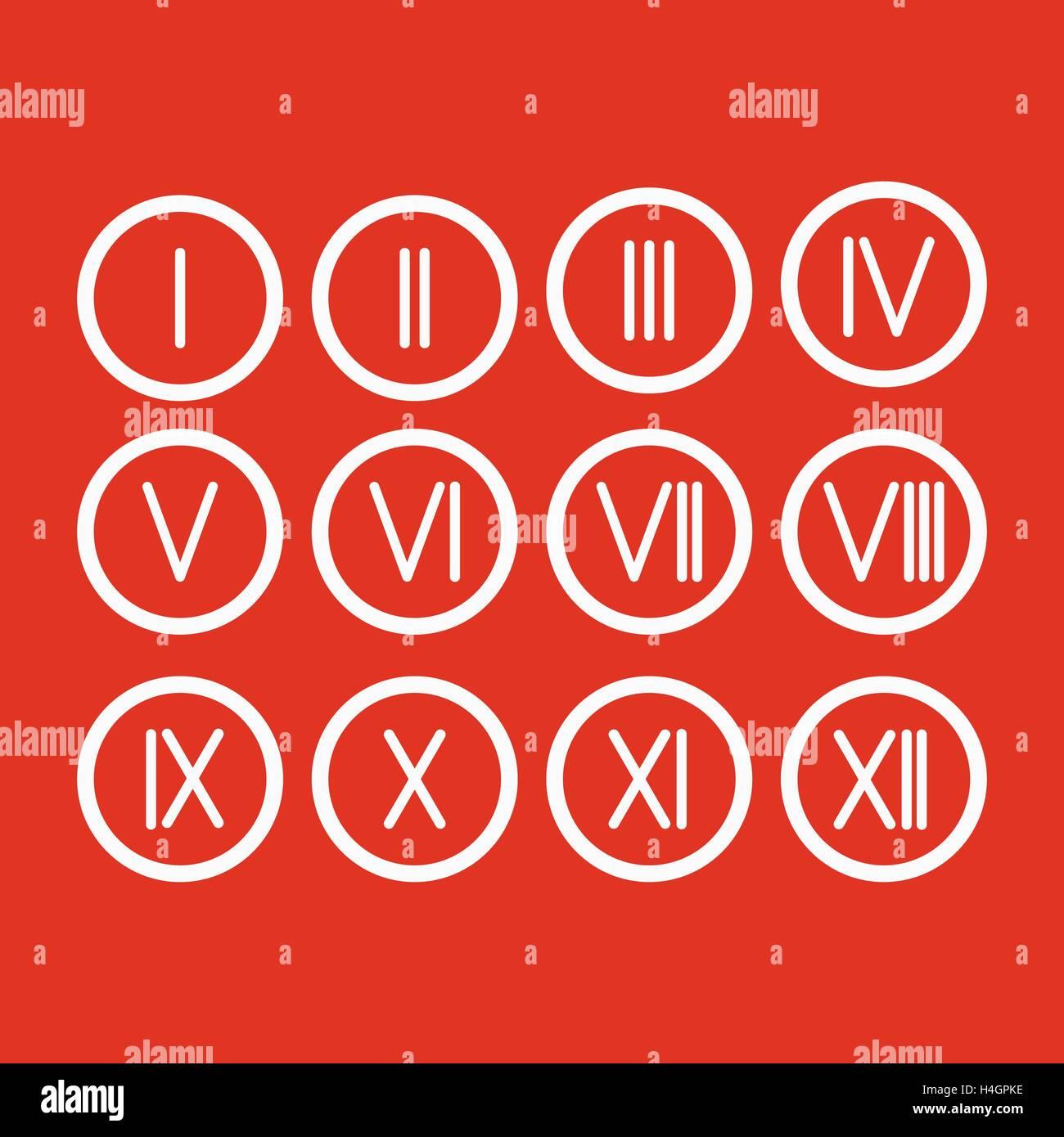 Set roman numerals 1 12 icon stock vector art illustration vector set roman numerals 1 12 icon thecheapjerseys Gallery