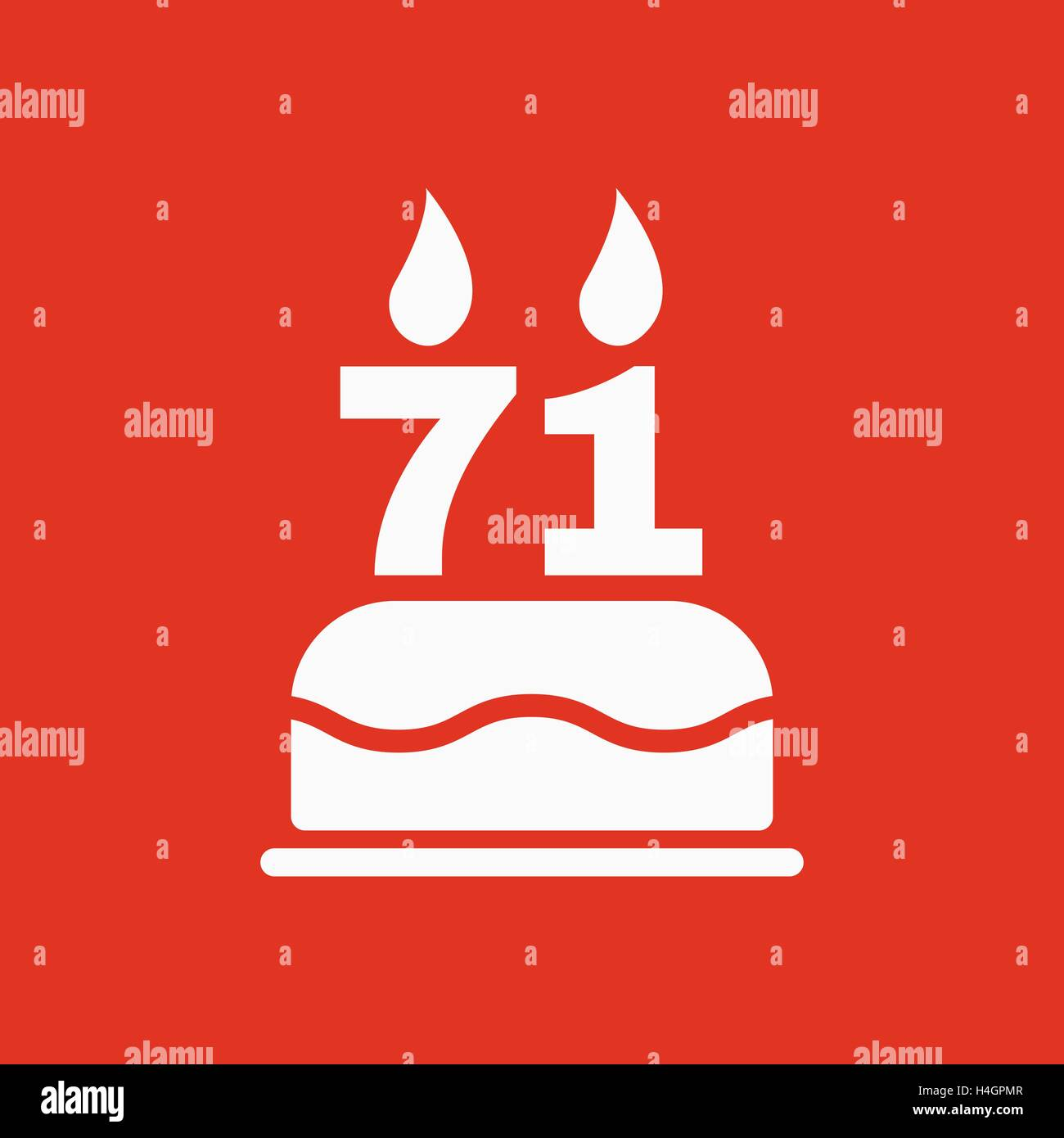 The birthday cake with candles in the form of number 71 icon Stock