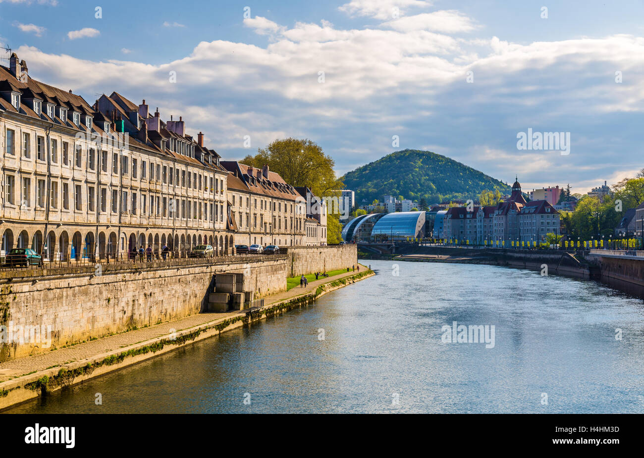 View of Besancon over the Doubs River - France - Stock Image