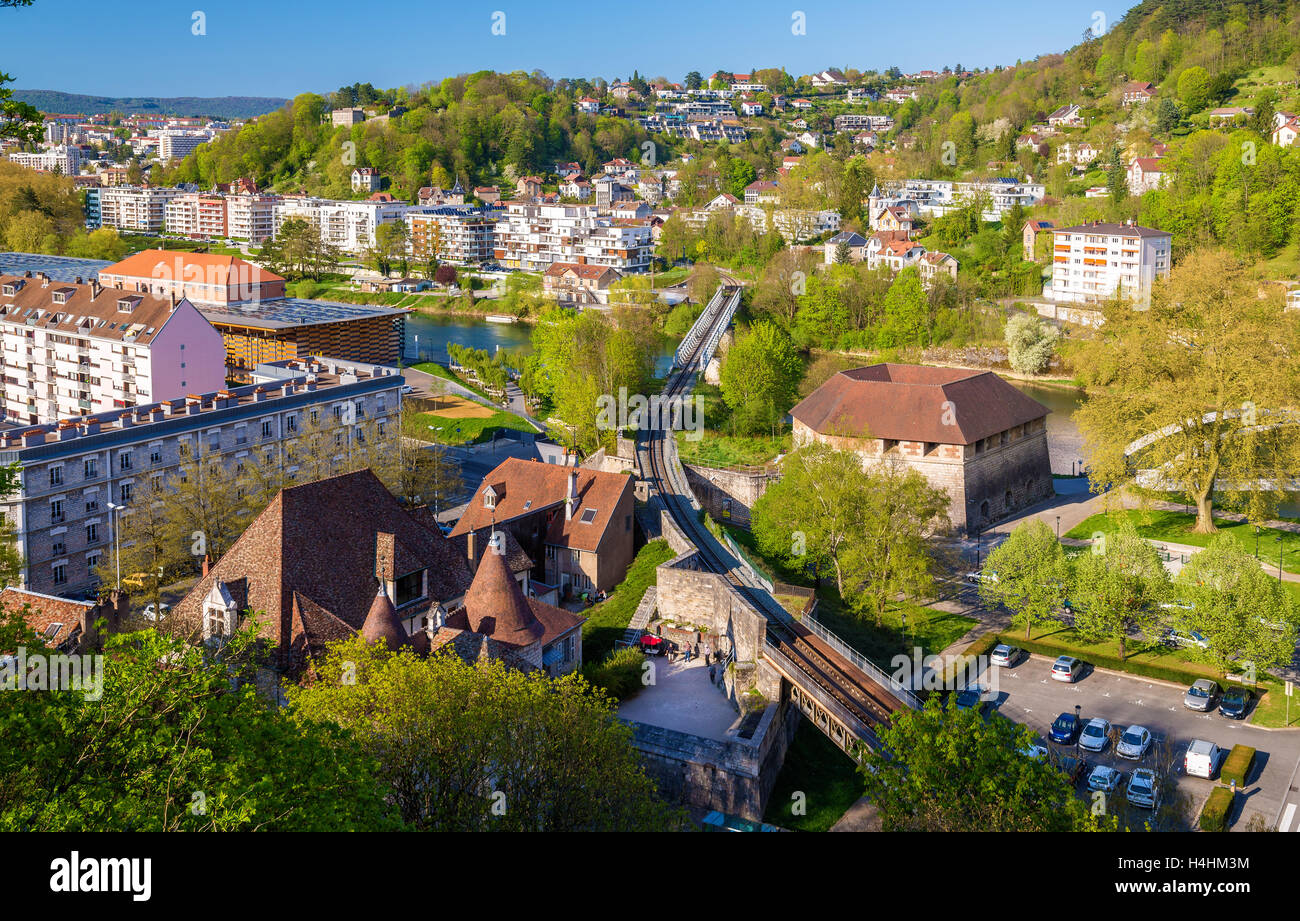 Railway crossing the Doubs river in Besancon - France - Stock Image