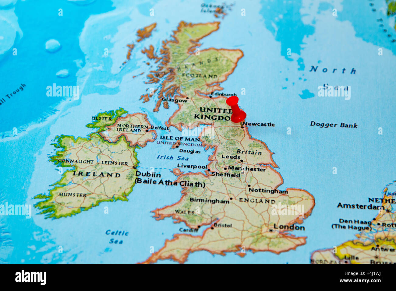 Newcastle UK pinned on a map of Europe Stock Photo 123327838 Alamy