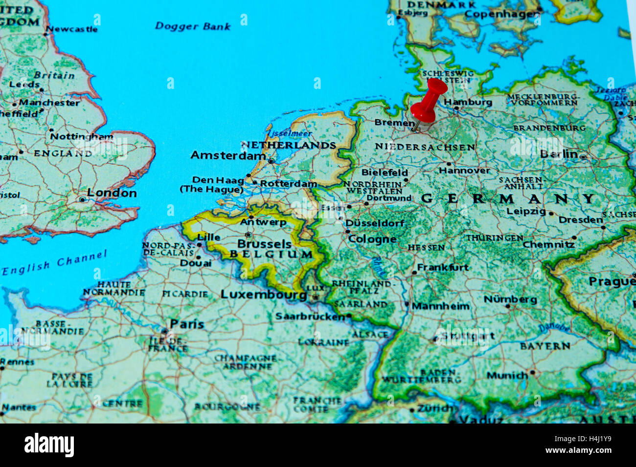 Bremen, Germany pinned on a map of Europe Stock Photo: 123327885 - Alamy