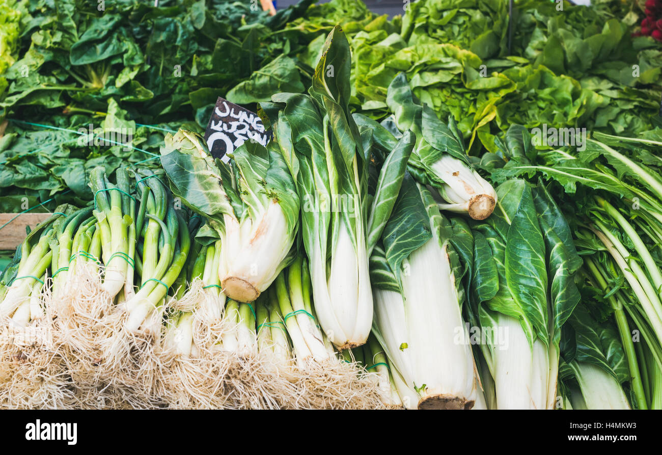 Various fresh green vegetables and herbs on market stall - Stock Image