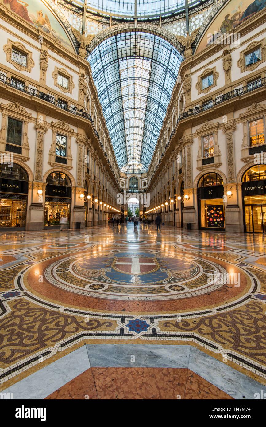Galleria Vittorio Emanuele II, Milan, Lombardy, Italy - Stock Image
