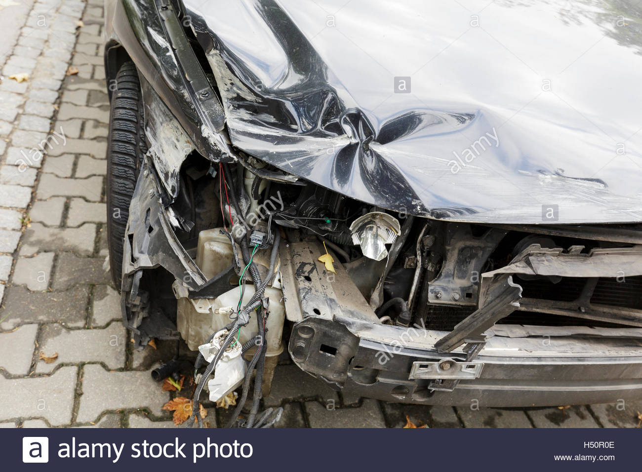 Crashed the front of a car - Stock Image