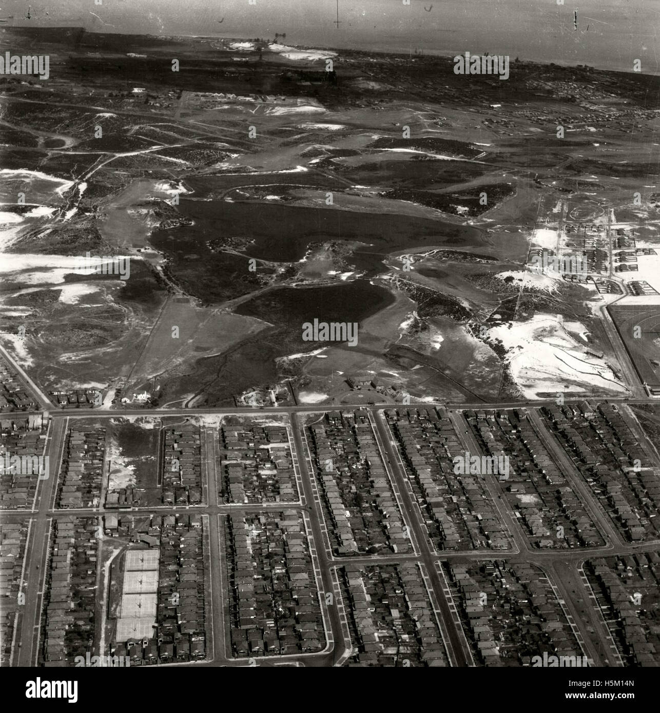 Eastlakes Golf Course looking east 28 Aug 1936 - Stock Image