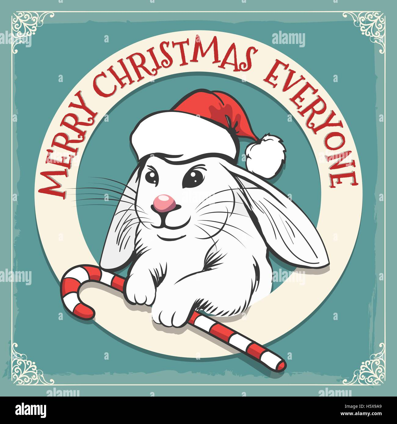 Merry Christmas Hand Draw Greeting Card In Vintage Style Rabbit