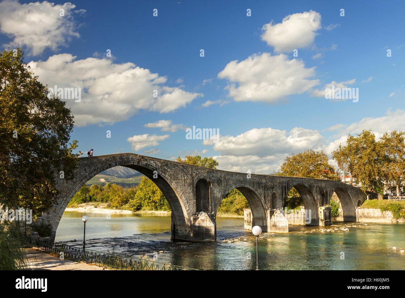 The legendary stone bridge of Arta, the most historic bridge in Greece. - Stock Image
