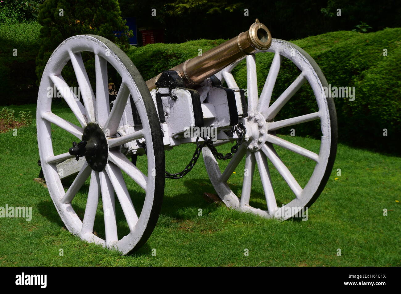 Beautiful Old British Cannon at Ooty Botanical Garden India - Stock Image