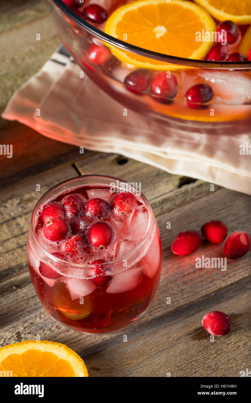 Red Cranberry Holiday Punch with Orange Slices - Stock Image