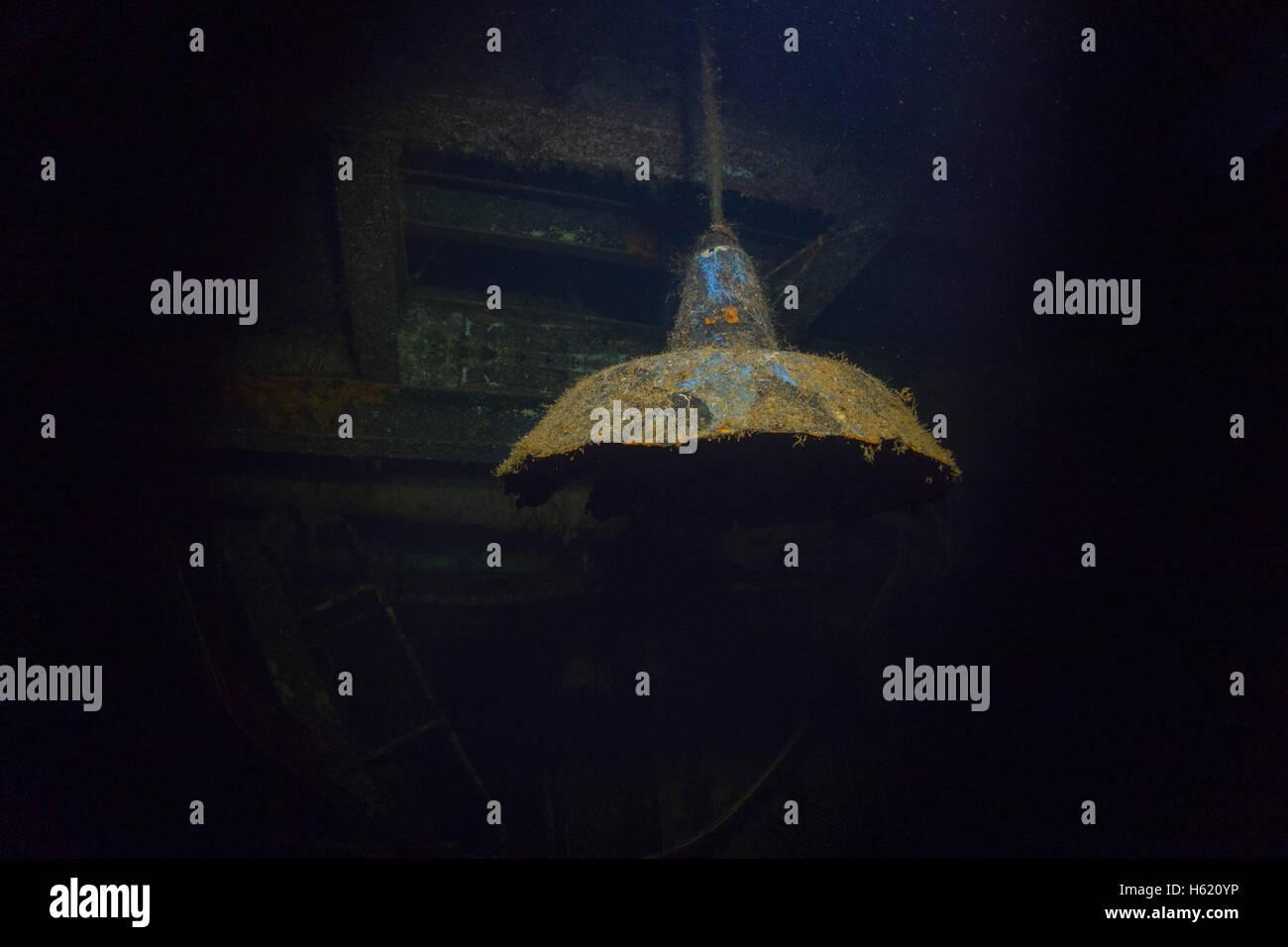 Lamp of a underwater ship wreck, Malta, Mediterranean Sea. - Stock Image