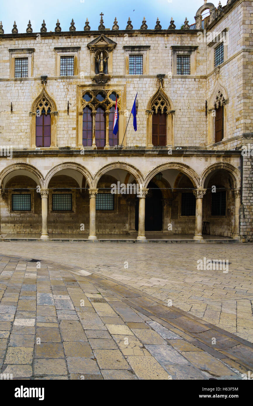 The Sponza Palace, also called Divona, in the old city of Dubrovnik, Croatia - Stock Image