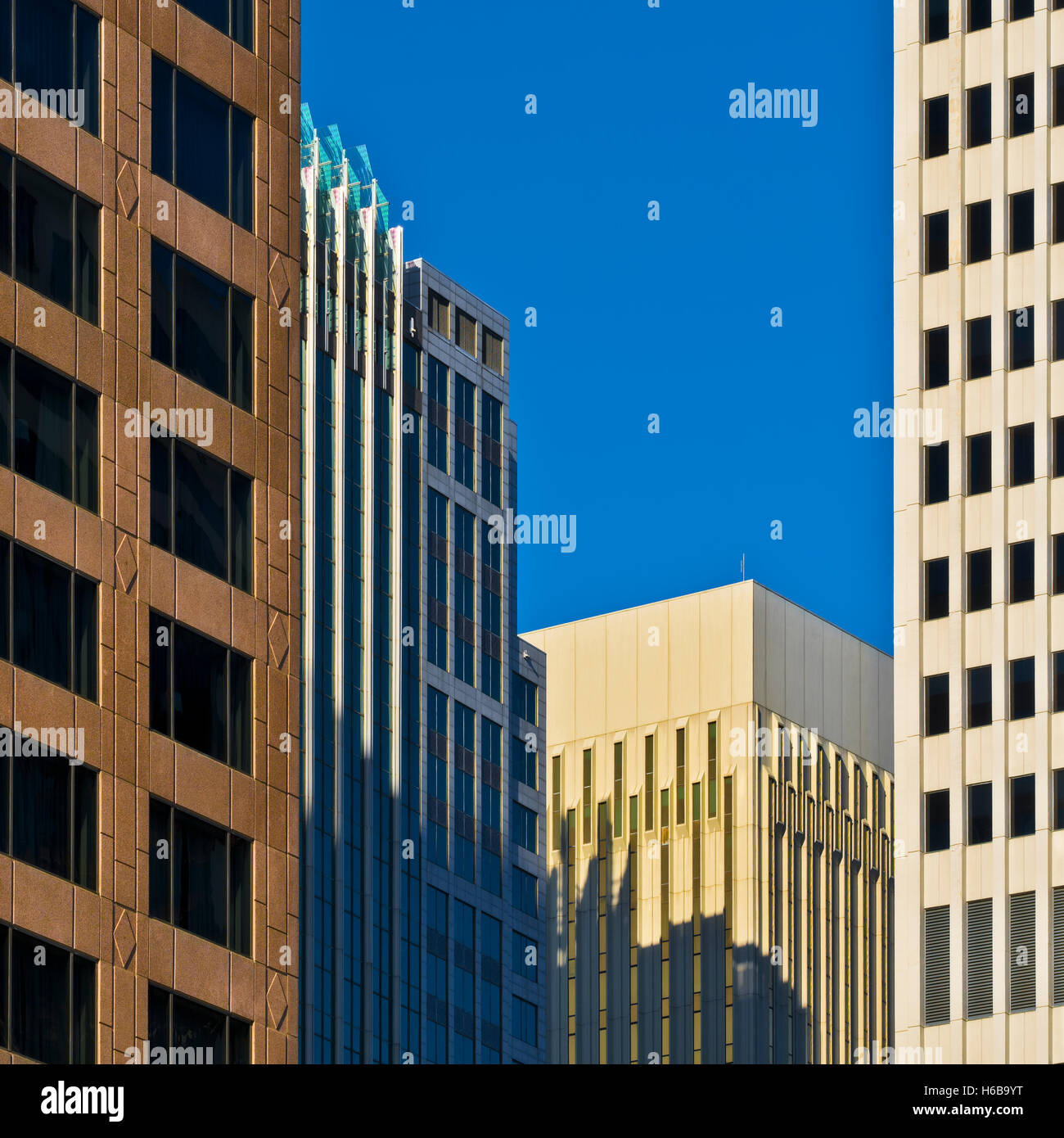 Architecture, Buildings in the City of Charlotte, NC - Stock Image