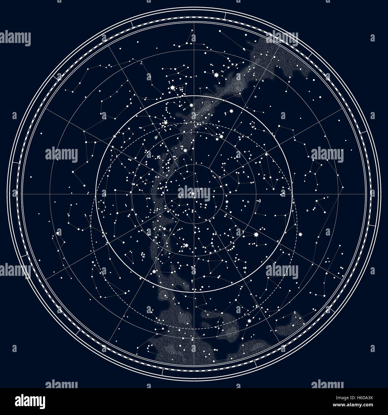 Astronomical Celestial Map Of The Northern Hemisphere Detailed - Night sky map northern hemisphere