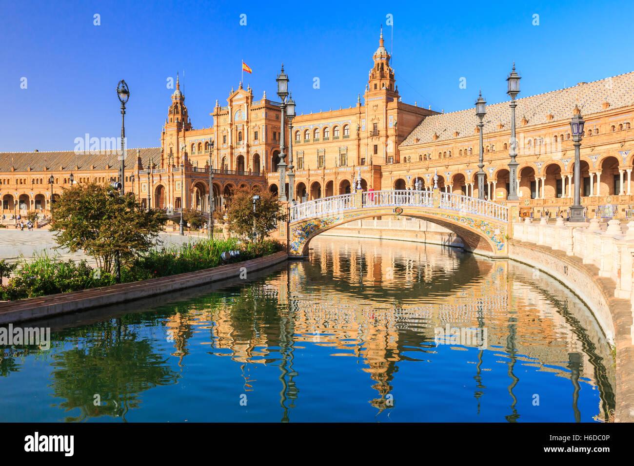 Seville, Spain. Spanish Square (Plaza de Espana) - Stock Image