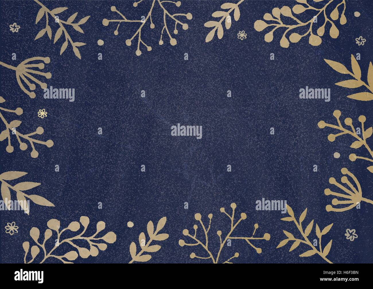 A4 Document Size Dark Blue Board Background With Drawing Flora