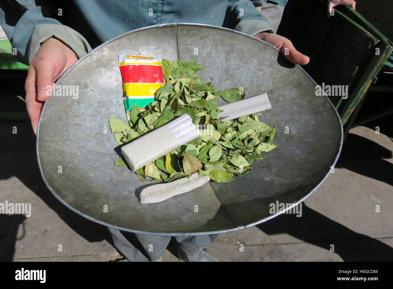 Gifts for miners, coca leaves and dynamite - Stock Image