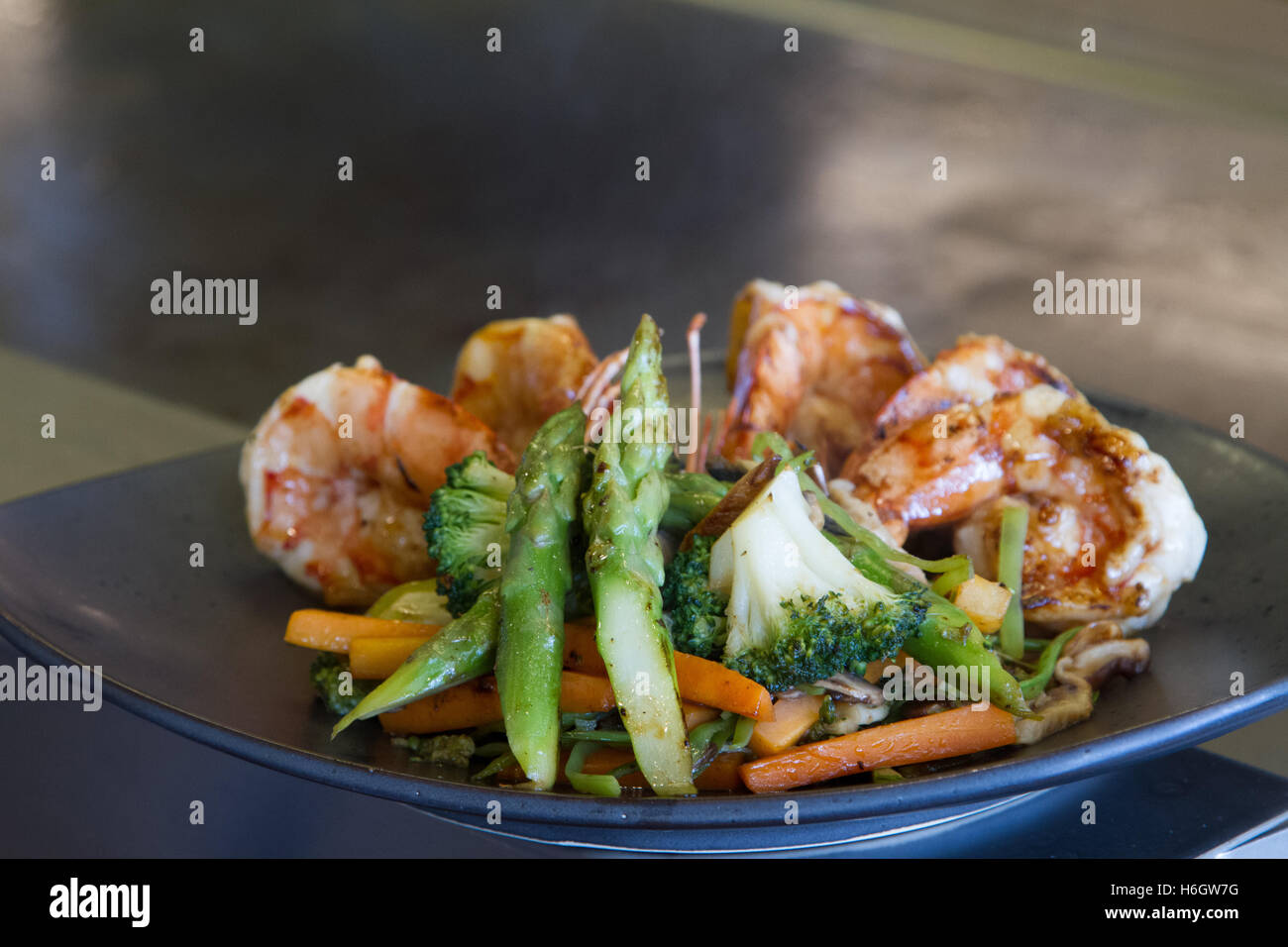 Japanese seafood and vegetable teppanyaki Stock Photo