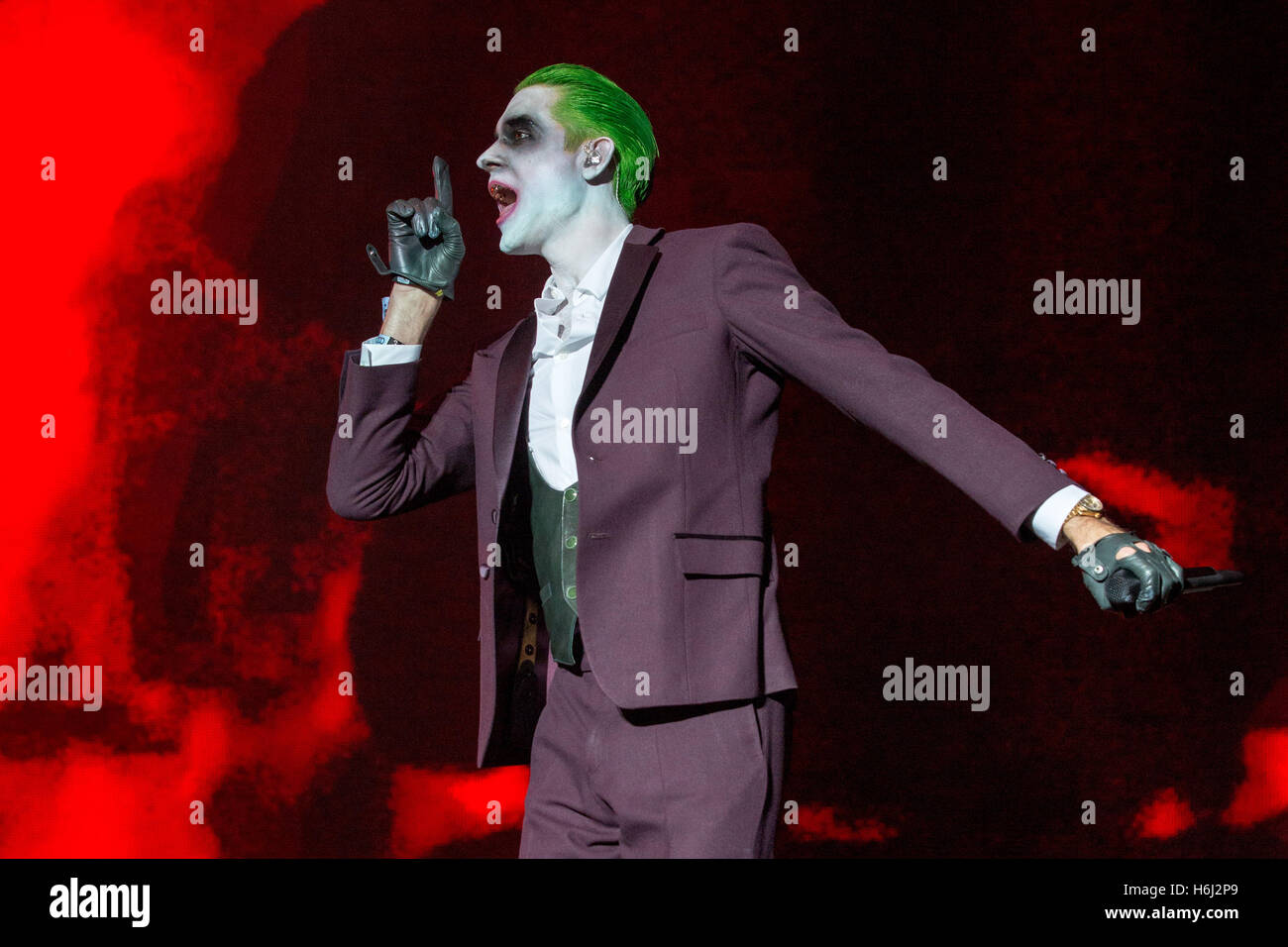 Rapper G EAZY GERALD GILLUM Performs Live In Halloween Makeup And Green Hair At The Voodoo Music Arts Experience New