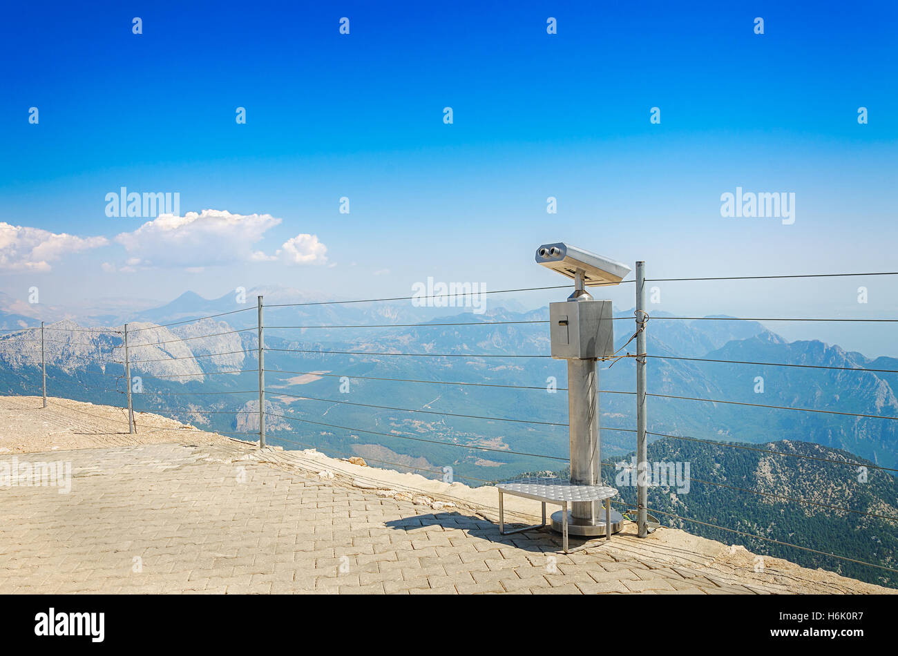Observation deck with coin-operated telescope or binocular on top of mount Tahtali, Kemer, Antalya province Turkey. Stock Photo
