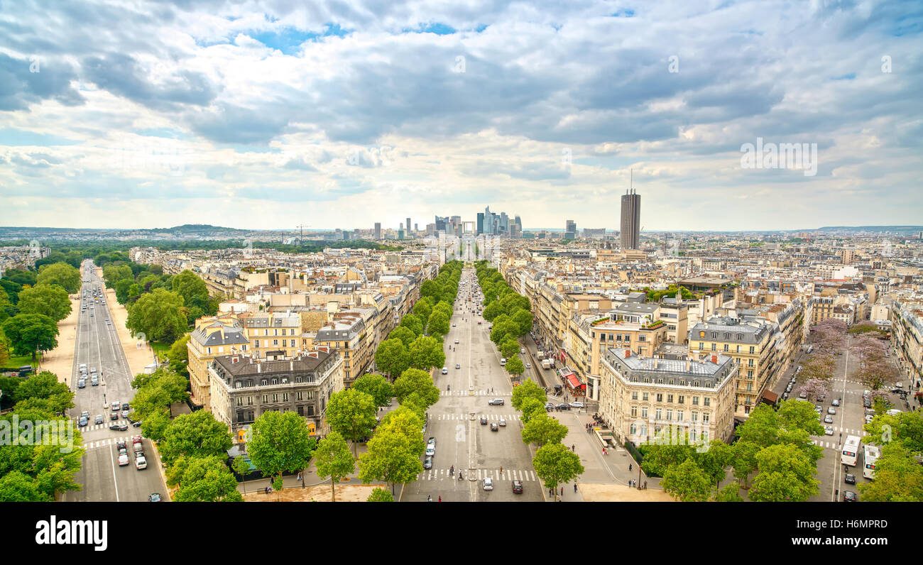 La Defense business area, La Grande Armee avenue. View from Arc de Triomphe. Paris, France, Europe. - Stock Image