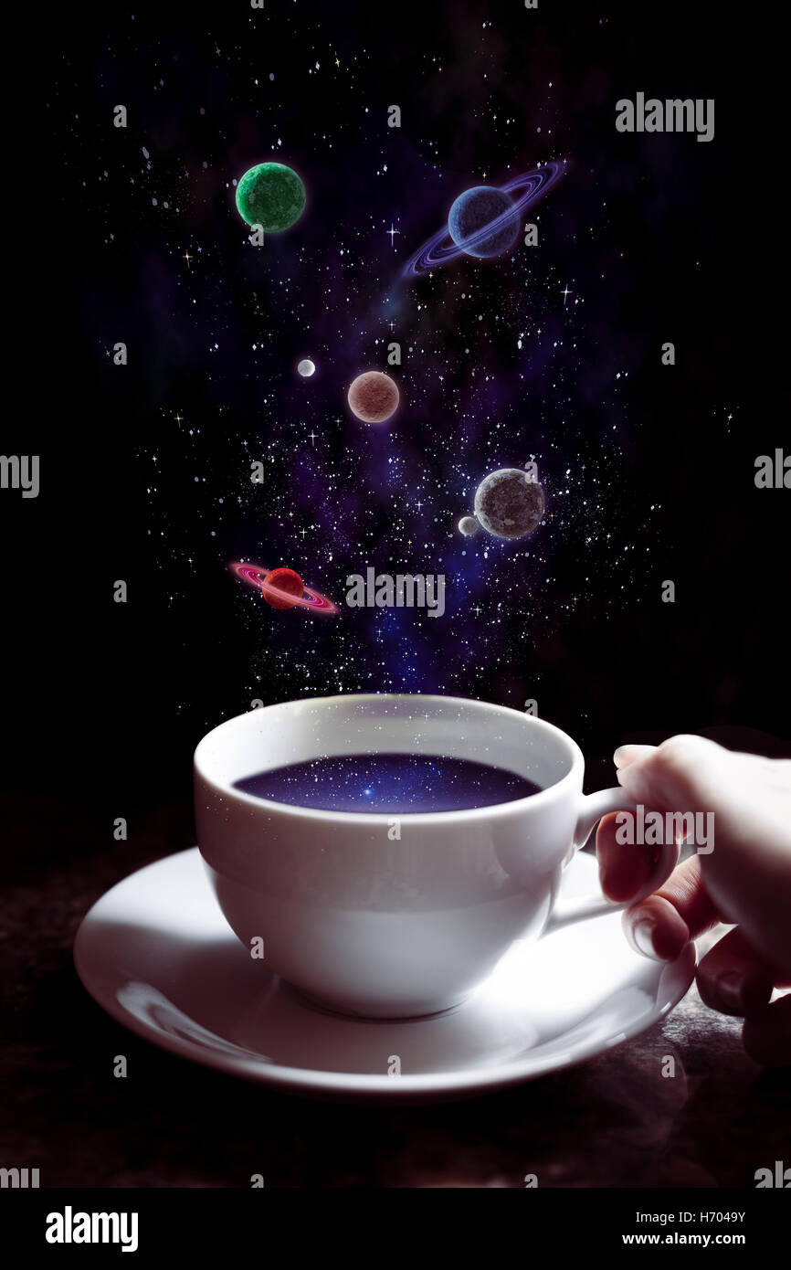 Cup of coffee and planets - Stock Image