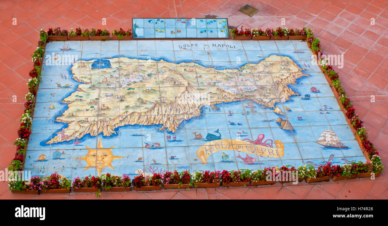 the map of Capri island made on glazed tiles in traditional style