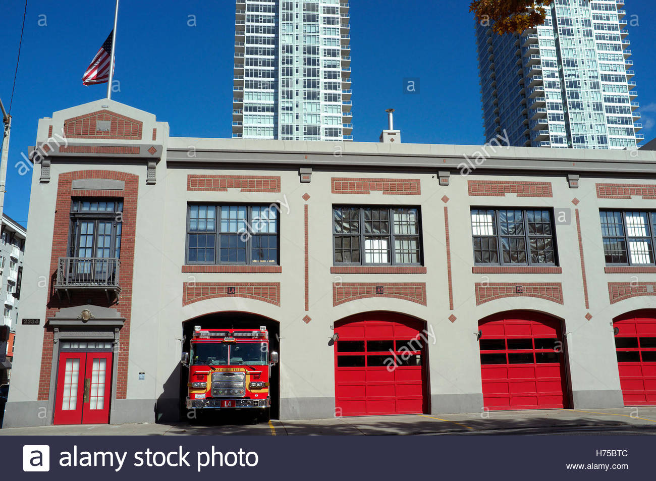 City of Seattle Fire Station 2, in Seattle, Washington State, USA.Stock Photo