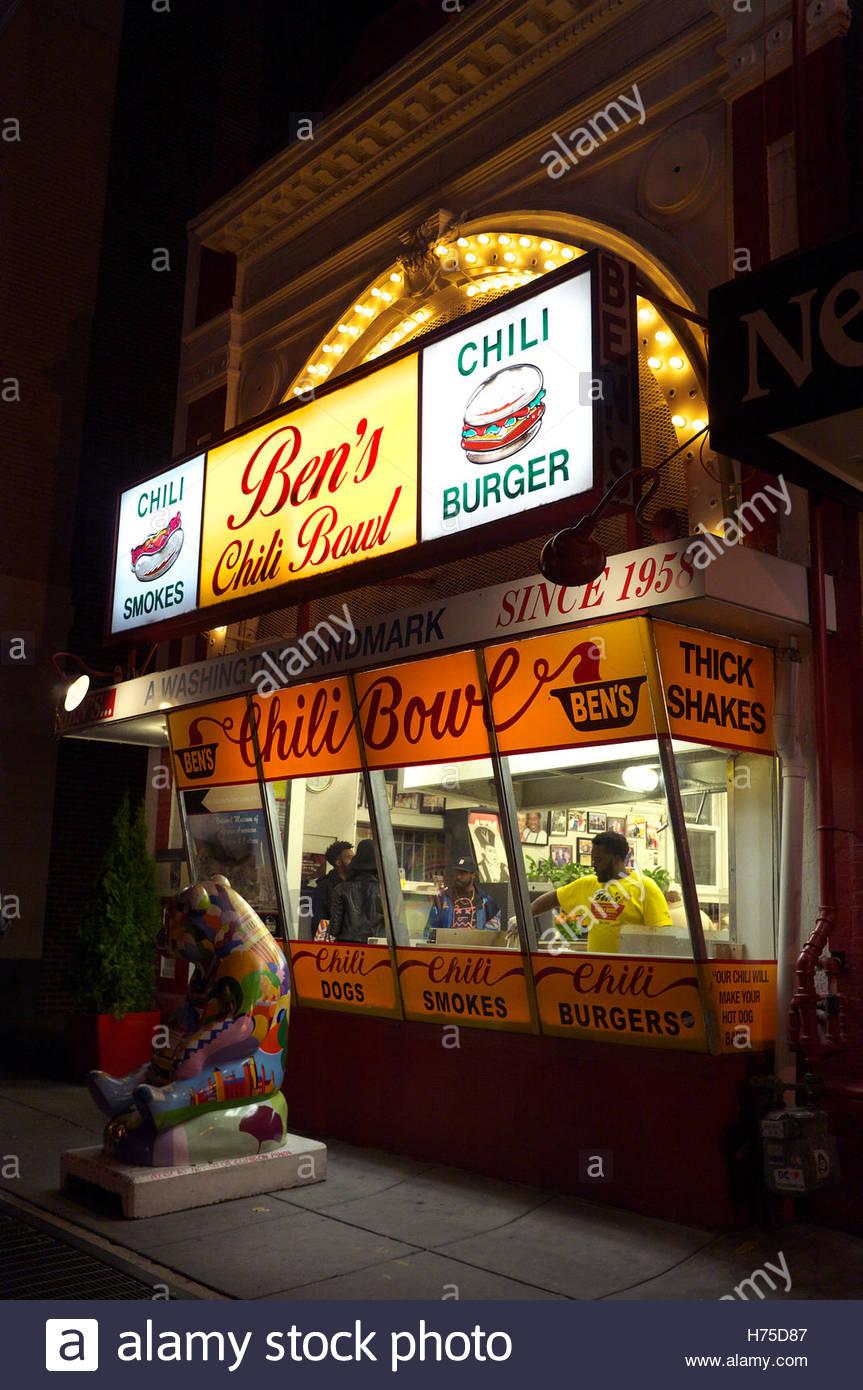 Ben's Chili Bowl - takeaway at 1213 U St NW, Washington, D.C., USA. Stock Photo