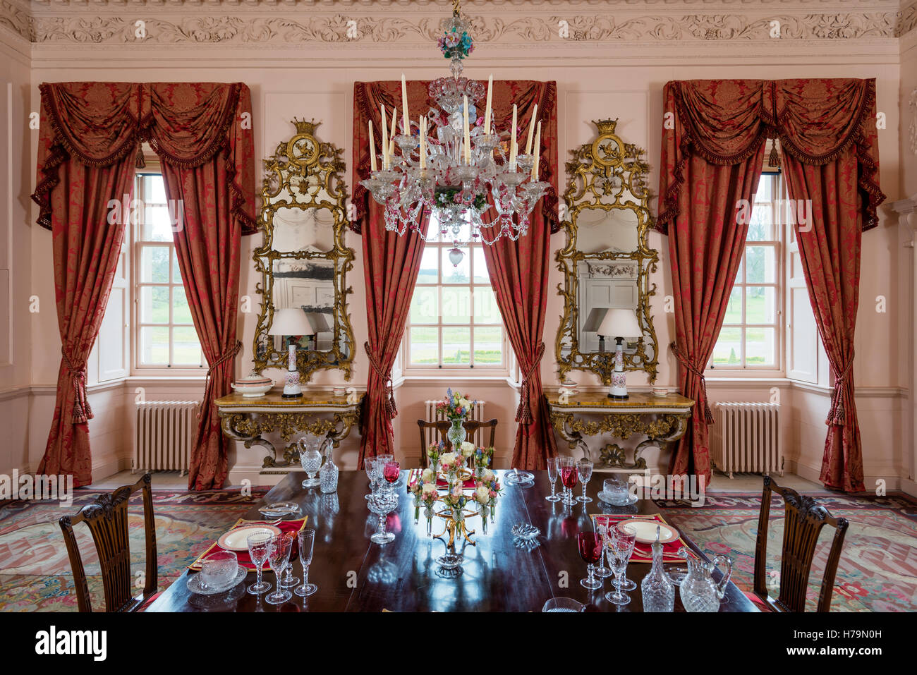 Murano Glass Chandelier In Dining Room Of 18th Century Dumfries House Ayrshire Scotland