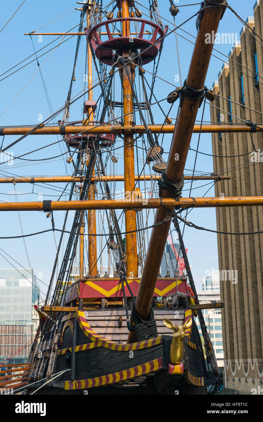 London City Southbank copy of 16 th c galleon ship Golden Hinde hind in which Sir Francis Drake sailed round world - Stock Image