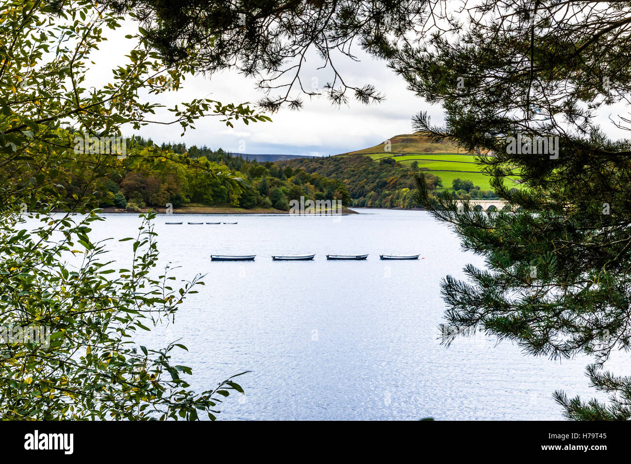 Ladybower Reservoir at Bamford in the county of Derbyshire. - Stock Image
