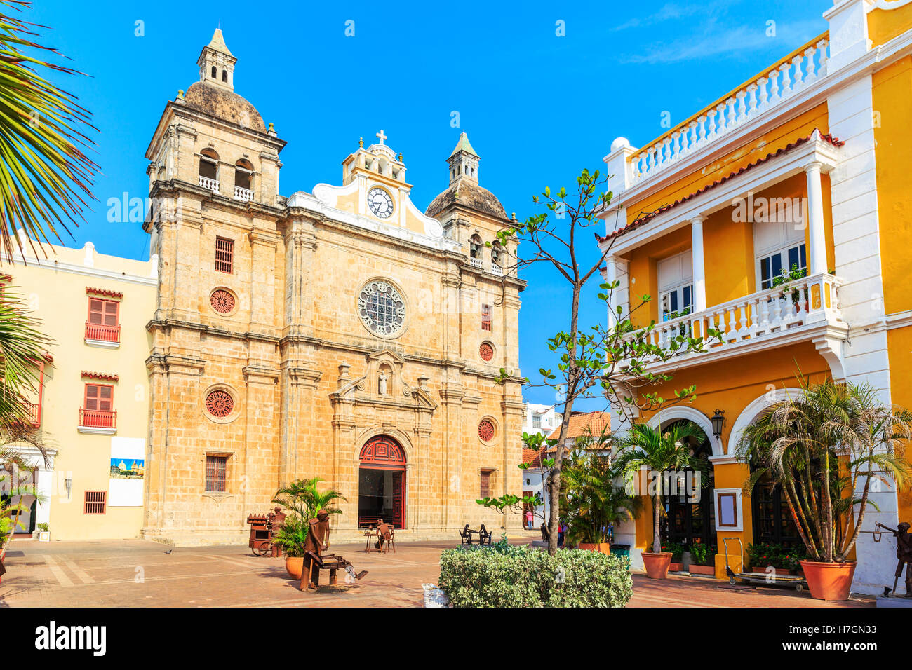 Church of St Peter Claver in Cartagena, Colombia - Stock Image